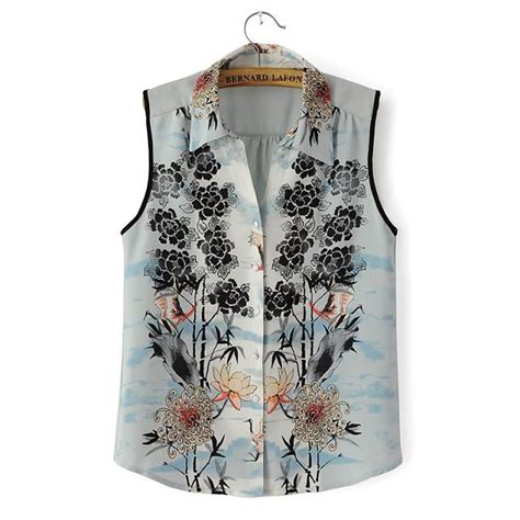 Bl7750 Flower Vintage Shirt st2169 new fashion vintage floral print blouses sleeveless shirt turn collar shirt