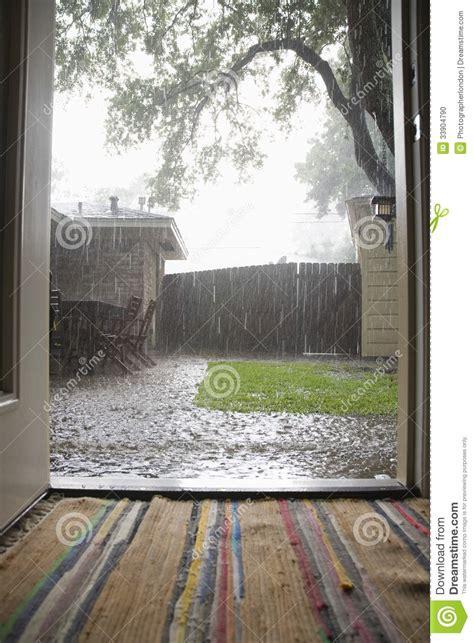 heavy rains  backyard stock photo image  recreation