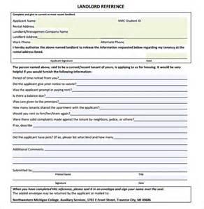 landlord templates sle landlord reference template 9 free documents in