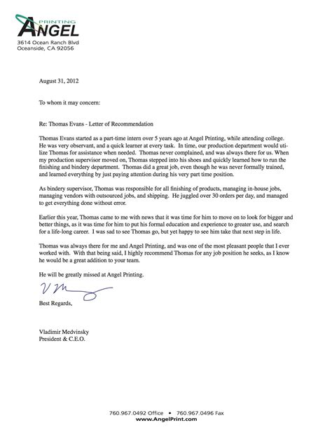 sample employer reference letter recommendation letter previous