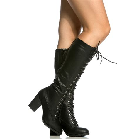 combat high heel boots lace up chunky heel knee high combat boots