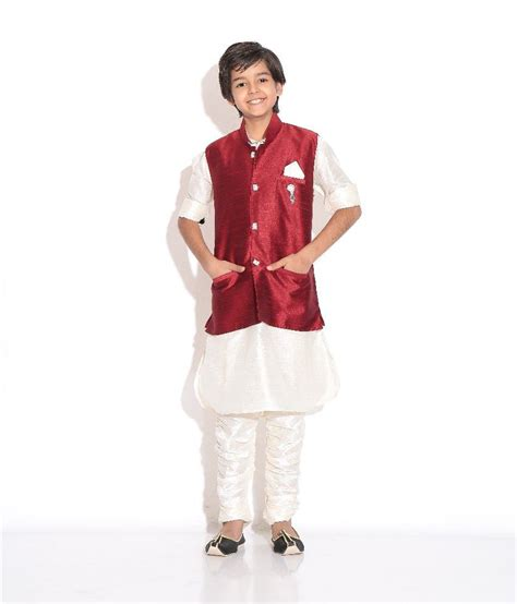 riwaaz cream mehroon color kurta pajama set with jacket riwaaz mehroon cream color kurta pajama set with jacket