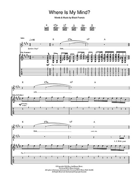 my chords where is my mind guitar tab by the pixies guitar tab