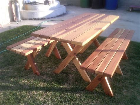 wooden  picnic table plans  separate benches  plans