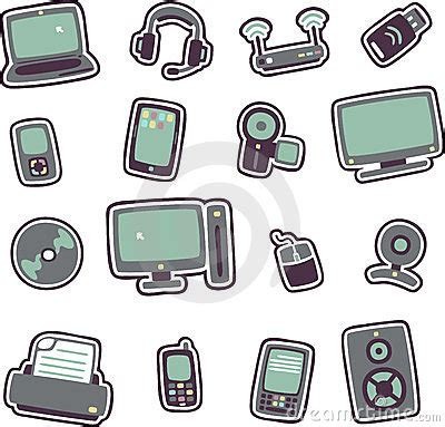 cartoon technology icons 1 royalty free stock photography