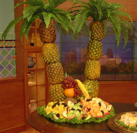 pineapple fruit tree stand luau pineapple palm tree fresh fruit display kit