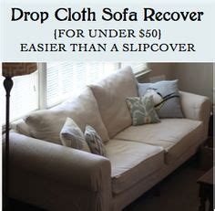 diy sofa slipcover no sew drop cloth slipcover on pinterest drop cloth projects