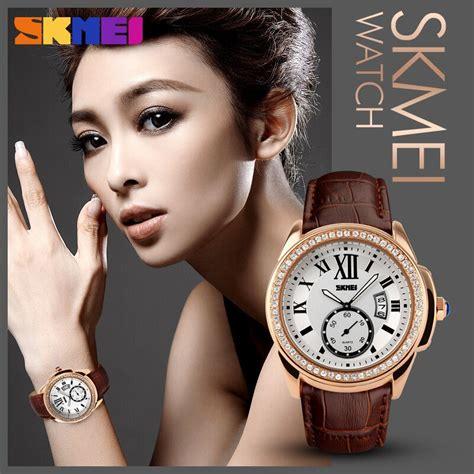 Jam Tangan Wanita Skmei 1085 Leather Water Resistant Anti Air30m Skmei Jam Tangan Analog Wanita 1147cl Golden
