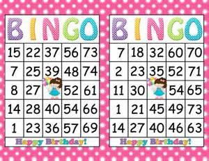 printable bingo birthday party game instant download