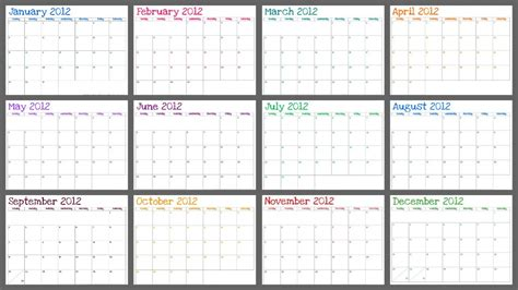 printable calendar no dates kiss laugh dream free printable 2012 monthly calendar