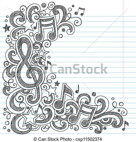 vectors illustration of music doodle vector page border