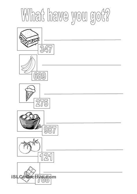 What have you got? | food | Worksheets, Printables