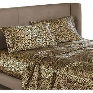 Leopard animal print satin bedding sheet set