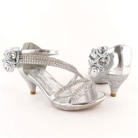 silver dress high heels flower rhinestones sandals