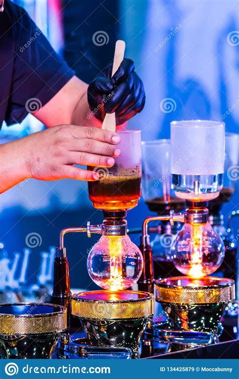 showcase syphon coffee maker  syphonist stock image image  container fresh