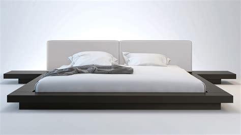 gray platform bed gray leather and wenge brookline platform bed zuri furniture