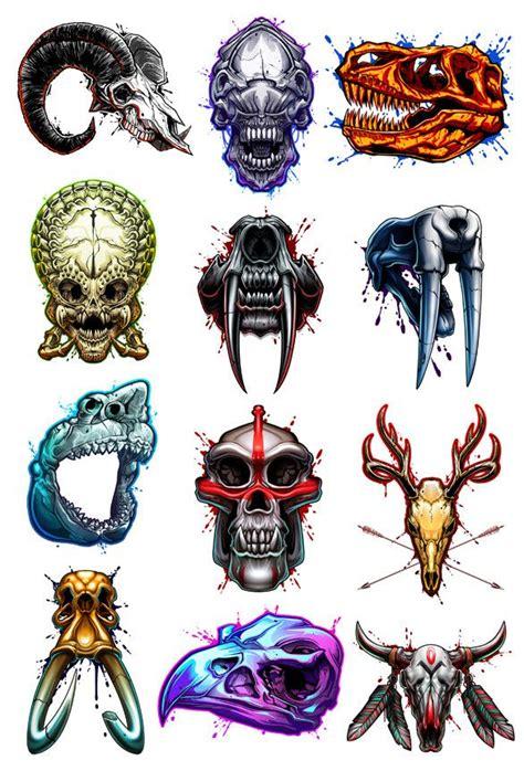 tattoo animal set savage skulls temporary tattoo set savage tattoo set