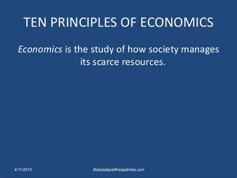 Importance Of Economics In Mba by Ten Principles Of Economics Ppt Mba