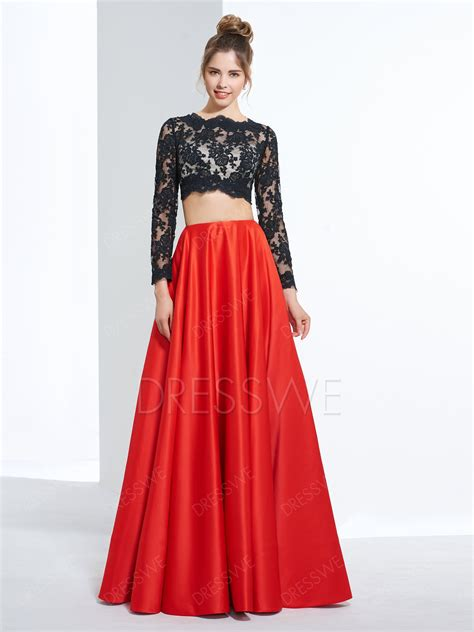 Garden Formal Dresses - a line long sleeve lace crop top two pieces long prom dress 12427135 prom dresses 2016