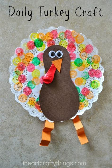 make a turkey craft project doily turkey craft for thanksgiving for and