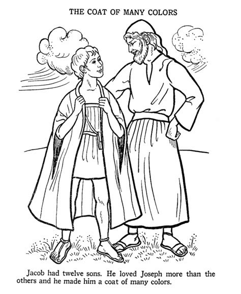joseph and the coat of many colors bible story coloring page