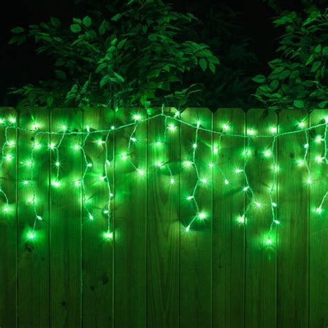 Christmas Icicle Light   100 Green Icicle Lights, White