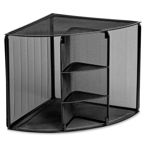 Large Wire Mesh Corner Desk Top Organizer Strong Rubber Desk Corner Organizer