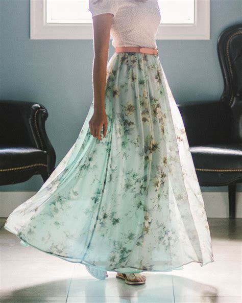 modest chiffon maxi skirt in mint w floral print