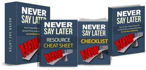 Never Say Later never say later and get more stuff done