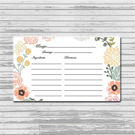 3x5 recipe card template pastel flower recipe card 3x5 instant printable