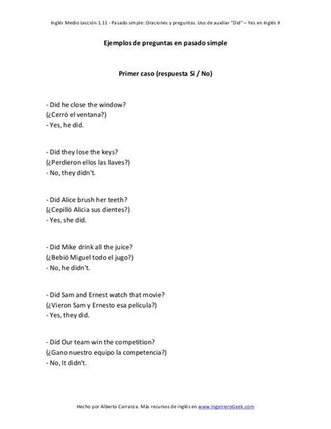preguntas en ingles negativo 1 11 pasado simple oraciones y preguntas uso de auxiliar did