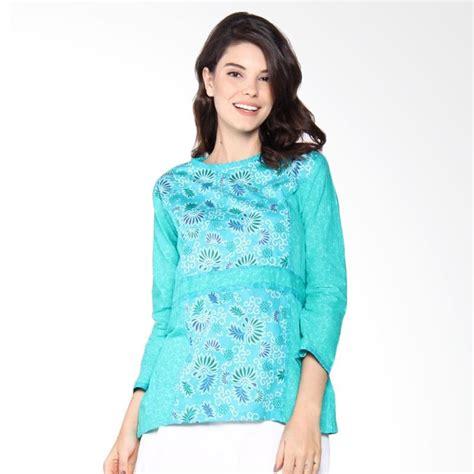 Blus Batik Atasan Batik jual jogja batik blus batik bunga atasan wanita hijau