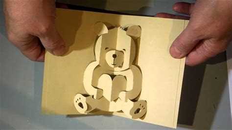 kirigami bear pop up card my crafts and diy projects