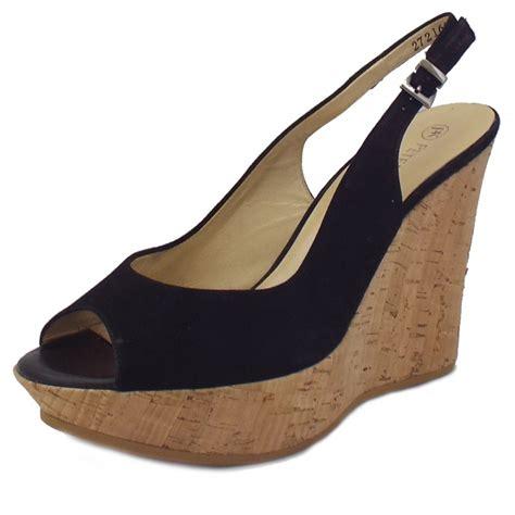 kaiser riga black suede slingback wedge sandals