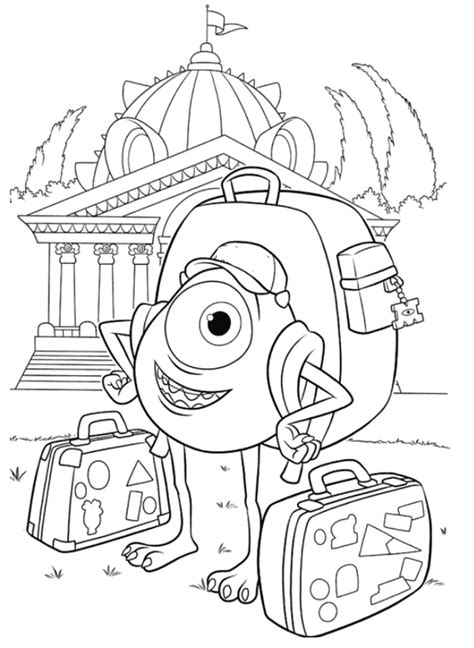 monsters inc coloring pages pdf mike the monster carrying bag coloring pages monster inc