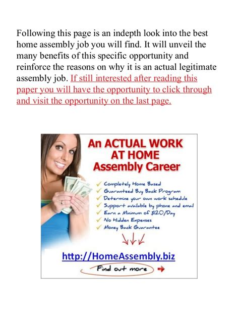 assembly work from home with no fee no fees work at home