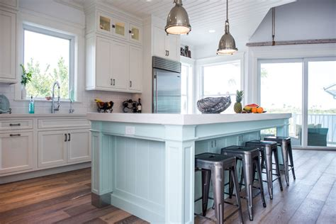 blue kitchen islands 2018 coastal style white kitchen with blue island cabinets