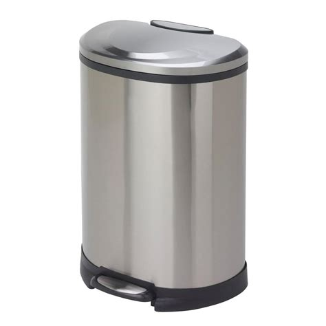 13 gal fingerprint proof stainless steel semi trash
