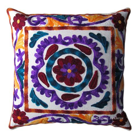 indian handmade designer cushion cover suzani embroidered