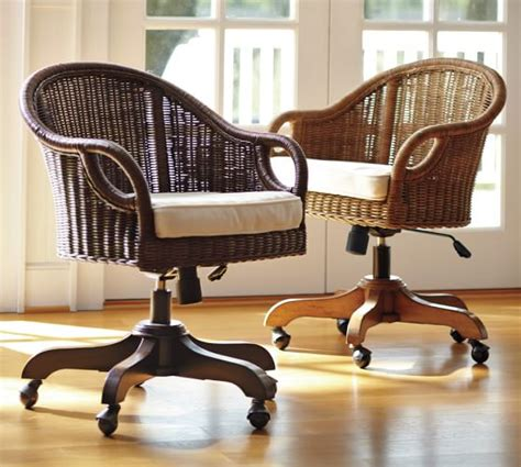 rattan swivel desk chair wingate rattan swivel desk chair pottery barn