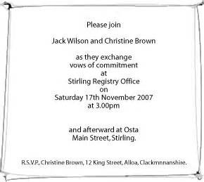 civil ceremony wedding invitation wording exles wedding wording for a civil ceremony bay attic