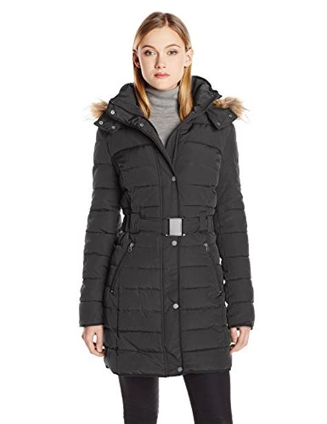 tommy hilfiger puffer jacket fur hood tommy hilfiger women s long belted down coat with fur trim
