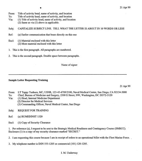 Official Naval Letter Format General Officer Gmo Manual Correspondence