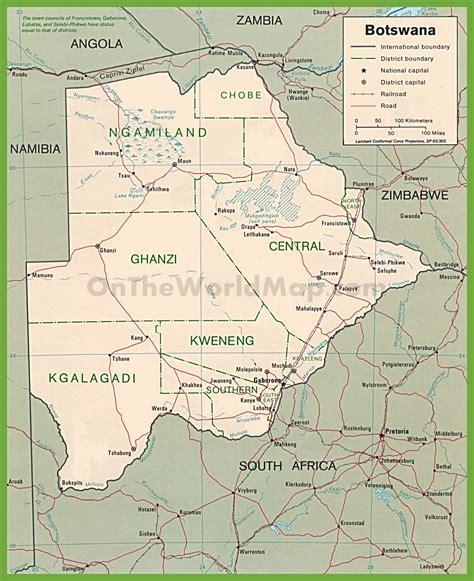 botswana on a world map botswana political map