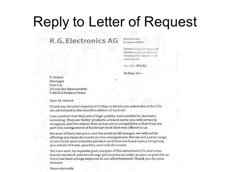 Business Letter Response To Request business letters ppt