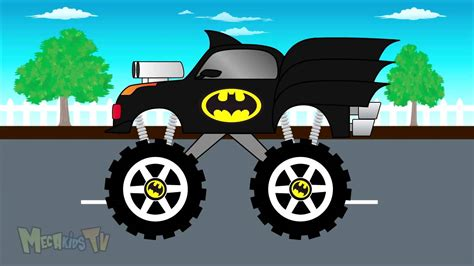 monster truck videos on youtube batman truck monster trucks for children mega kids tv