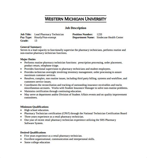 pharmacy help desk description pharmacy technician description for resume hospital