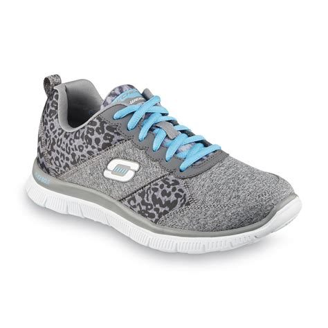 animal print athletic shoes skechers s tribeca gray blue leopard print running