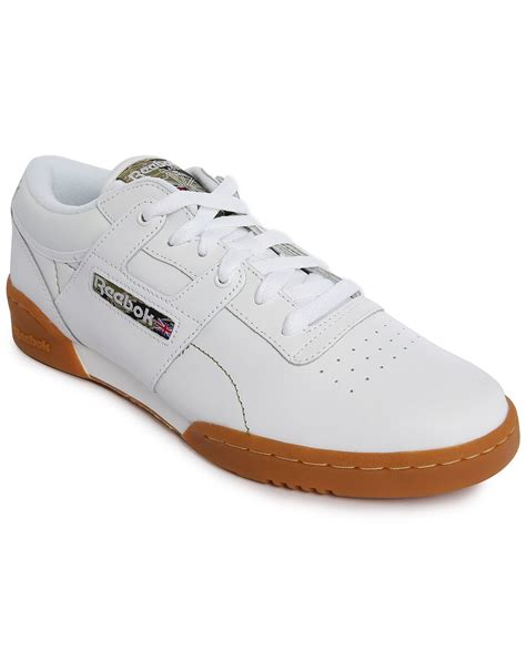 workout sneakers reebok workout low white leather sneakers with gumsole in