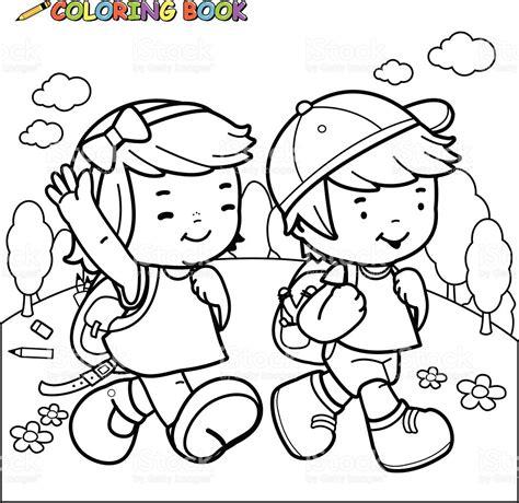 imagenes de stock libres de derechos libro para colorear con los ni 241 os a la escuela